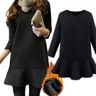 加厚款高雅氣質款顯瘦裙擺孕婦哺乳【橫拉式】短洋 黑【CNH8568】孕味十足 孕婦裝