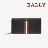 【台中米蘭站】全新品 BALLY TELEN 防刮牛皮條紋拉鍊長夾 (6218049-黑)