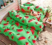 舒柔綿 超質感 台灣製 《西瓜》 雙人薄床包被套4件組