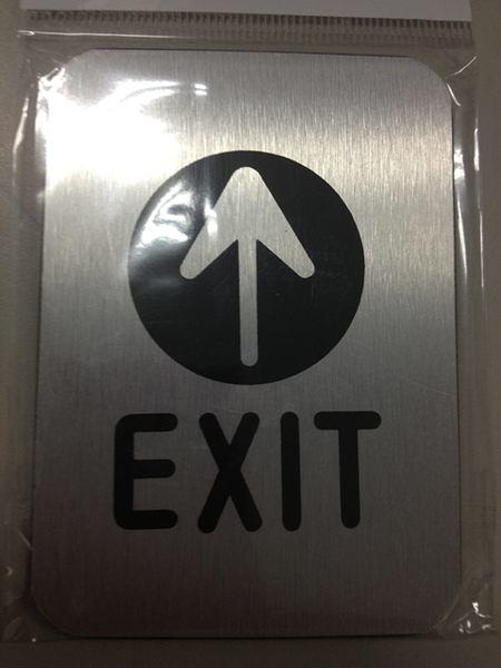 高級鋁質標示貼牌 方形【EXIT】 規格10CMX7CM [#50]