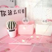 (百貨週年慶)桌面收納盒日系少女心可愛粉色浮雕化妝品收納盒桌面收納整理盒長方形收納筐