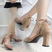 夏季涼鞋~尖頭粗跟高跟鞋仙女中空單鞋女2019新款夏綁帶流蘇包頭涼鞋女-薇格嚴選
