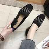 樂福鞋春季新款百搭韓版中跟透氣針織方頭單鞋網紅女鞋粗跟樂福鞋女 【低價爆款】