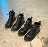 瘦瘦靴網紅短靴2021新款韓版百搭時尚休閑厚底低跟女方頭馬丁靴潮 茱莉亞嚴選時尚