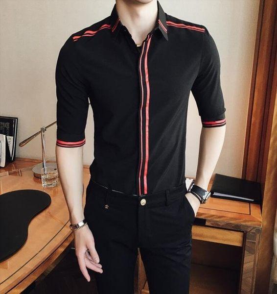 找到自己品牌 男 時尚 潮 薄款 條紋印花 修身 中袖襯衫 七分袖襯衫