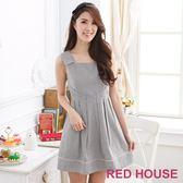 【RED HOUSE-蕾赫斯】俏麗細條紋洋裝-網路獨家款 滿2000元現抵250元