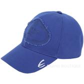 PRADA 品牌家徽不修邊設計帆布棒球帽(藍色)1920156-23