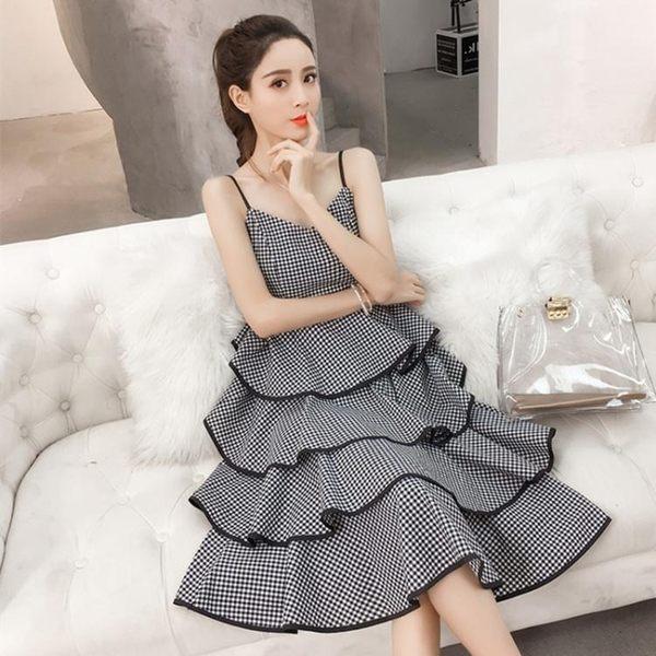 復古小洋裝裝韓版吊帶高腰黑白格子V領多層大擺蛋糕裙a
