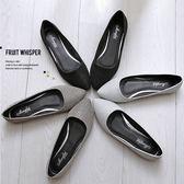 {丁果時尚}大尺碼女鞋35~45►尖頭寬楦好穿金粉橫紋平底鞋*3色