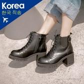 靴.綁帶厚底粗跟工程靴-FM時尚美鞋-韓國精選.Moonlight