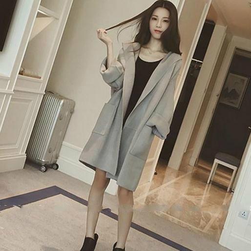 韓版冬純色學院風寬鬆連帽中長款羊毛毛呢外套風衣大衣女潮 - 古梵希