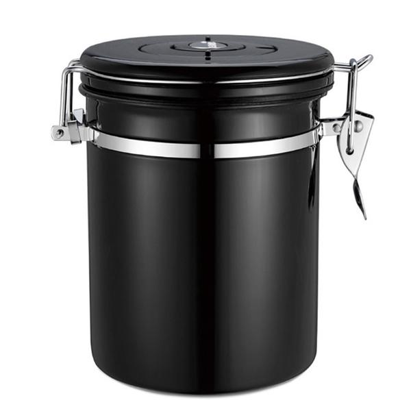 PUSH!居家生活用品304不銹鋼咖啡豆密封罐排氣閥密封儲物罐茶葉罐乾果咖啡罐帶勺I90