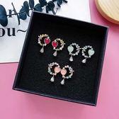 【NiNi Me】韓系耳環 夾式耳環 氣質甜美花朵愛心花圈水鑽垂墬耳針 夾式耳環 E0150