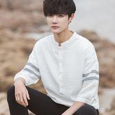 夏立領個性韓版寬鬆半7七分袖短袖T恤男學生潮流襯衫上衣