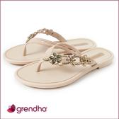 GRENDHA 花卉寶石時尚夾腳鞋-卡其色