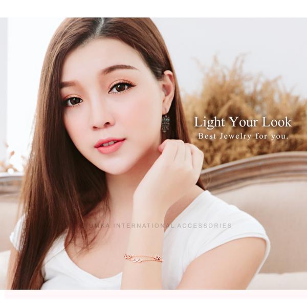 GIUMKA唇印雙鍊手鍊 精鍍正白K/玫瑰金 二色任選 MH07043