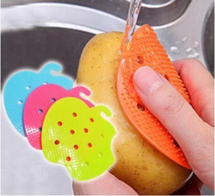 蔬菜瓜果刷(隨機色出貨)  創意蔬菜刷 隔熱墊 果蔬刷洗馬鈴薯黃瓜甘蔗工具蔬果刷 9元