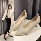 飛織女鞋2020新款百搭新款貓跟鞋子裸色高跟鞋女細跟單鞋 LF6444【極致男人】