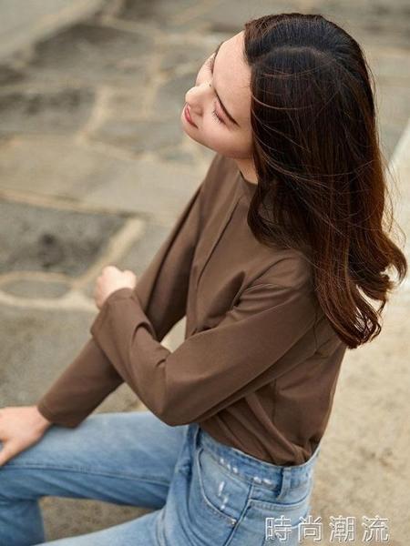 對白純色寬鬆拼接長袖t恤女裝新款潮秋季休閒簡約棉質體恤衫 時尚潮流