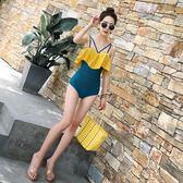 代購DK連體泳衣女韓國性感比基尼露背顯瘦小胸聚攏溫泉保守游泳裝