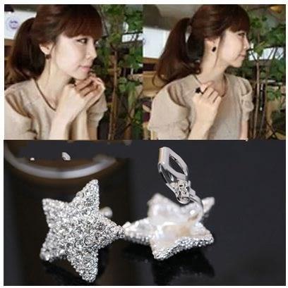 Star 日韓系列 -滿鑽星星耳夾-D187
