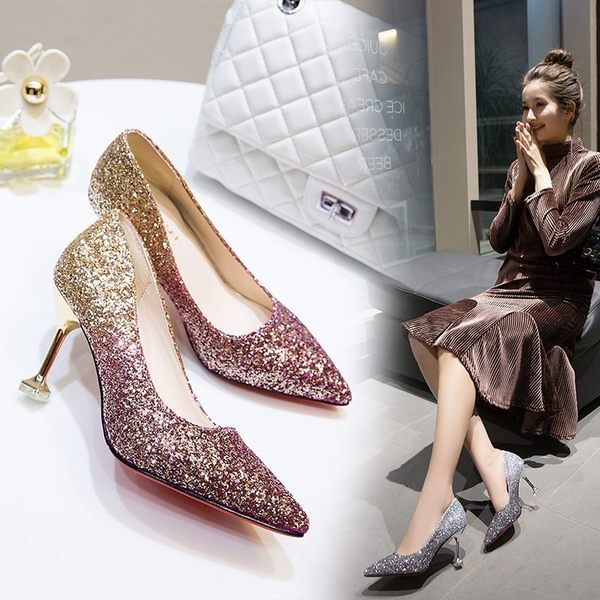 伴娘婚鞋 2018新款春銀色女尖頭細跟亮片水晶高跟鞋 zr1822『寶貝兒童裝』