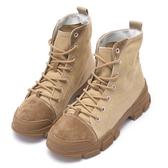 Hong Wa 復古綁帶縫線牛麂皮工程靴 - 軍綠