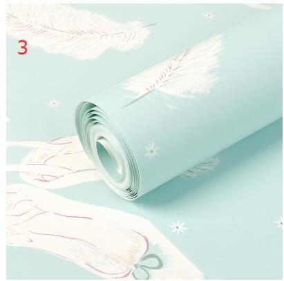 韓式無紡布牆紙浪漫芭蕾舞公主羽毛服裝店臥室背景衣帽間壁紙