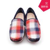 【A.MOUR 經典手工鞋】格紋豆豆-小紅格 / 氣墊鞋 / 平底鞋 / 嚴選格紋棉布 / 超軟豆豆鞋 / DH-1329