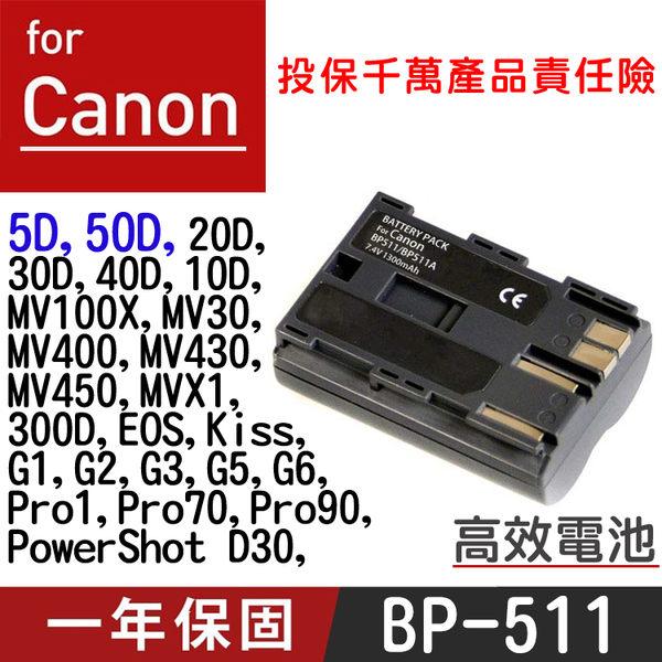 御彩數位@特價款 Canon BP-511 電池 50D 5D 30D 40D 300D
