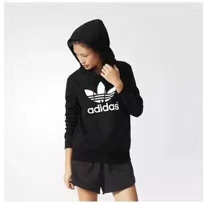 ADIDAS ORIGINALS 愛迪達AJ8407 黑色 基本口袋款 連帽T恤 長袖帽T 大學T 運動T桖 女生