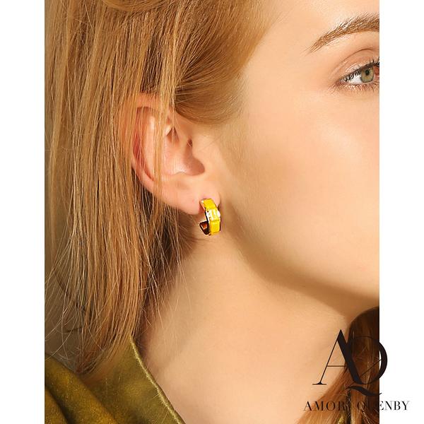 AQ 925純銀 不退燒古典黃耳環/耳針(AMOR Quenby)