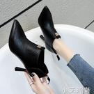 單鞋女細跟尖頭小皮鞋2020春秋新款後拉錬中跟百搭短靴深口高跟鞋 小艾新品