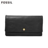 FOSSIL AUBREY 黑色金釦設計多功能零錢長夾 SL7811001