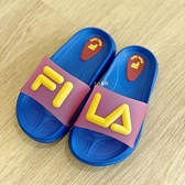 《7+1童鞋》FILA 2-S428V-393 輕量 防水 運動拖鞋 4340 藍色