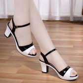 新款夏季涼鞋女夏中跟高跟韓版百搭粗跟魚嘴女鞋 9號潮人館