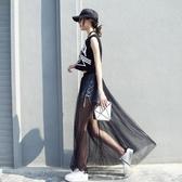 半身裙     超薄透視網紗紗裙高腰外搭透明單層罩裙長裙