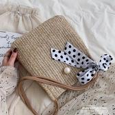 歡慶中華隊7:0編織包水桶包包洋氣女包夏新款2019流行編織側背包度假風時尚草編包