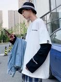 2019秋季新款男士長袖衛衣韓版潮流圓領學生假兩件T恤寬鬆外套ins  蘑菇街小屋