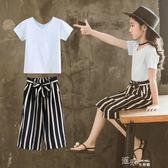 女童夏裝套裝韓版時尚時髦洋氣中大兒童寬管褲兩件套潮衣 道禾生活館
