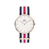 【Daniel Wellington】CLASSIC瑞典時尚品牌經典簡約尼龍腕錶-藍白紅x玫金-40mm/DW00100002/原廠兩年保固