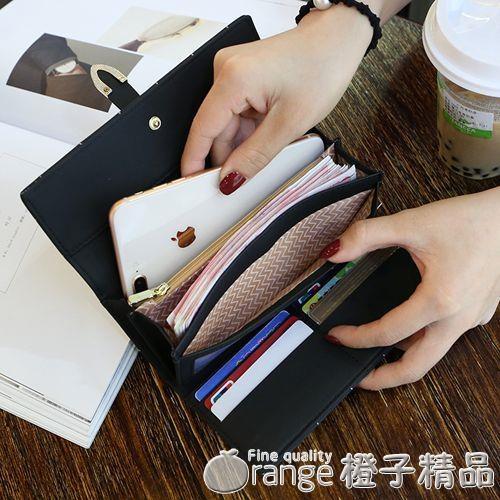 2020新款錢包女長款磨砂日韓大容量多功能三折女式錢夾皮夾手拿包  (橙子精品)