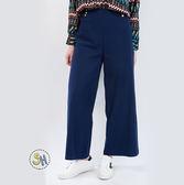 長褲 寬版釦飾長褲/藍色/義大利進口 現貨/SH