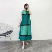 無袖洋裝-皺褶高彈力拼色格子寬鬆女連身裙2色73yf10【時尚巴黎】
