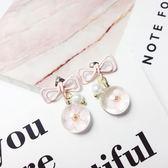 蝴蝶結花朵耳墜短款粉色少女心ins耳環女氣