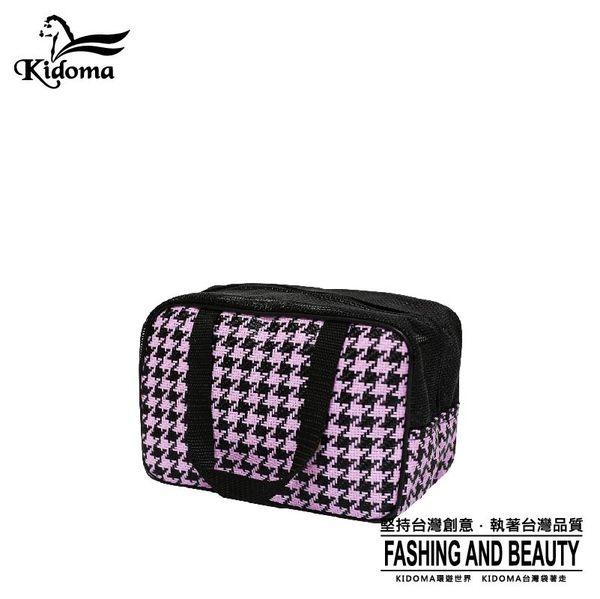 手提袋-編織餐袋-黑粉紫千鳥-03A