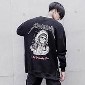 長袖T恤-圓領後背個性骷髏印花男上衣73pr45【巴黎精品】