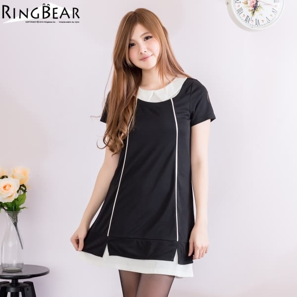 洋裝--簡約素雅層次感裝飾配色線衣領下擺拼接設計洋裝(黑.紫XL-5L)-D347眼圈熊中大尺碼