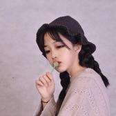 帽子女韓軟妹純色可愛帽秋冬季帽系帶毛線帽荷葉邊休閒針織漁夫帽-風尚3C