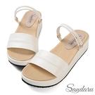 涼鞋 簡約百搭寬版兩穿厚底涼鞋-白